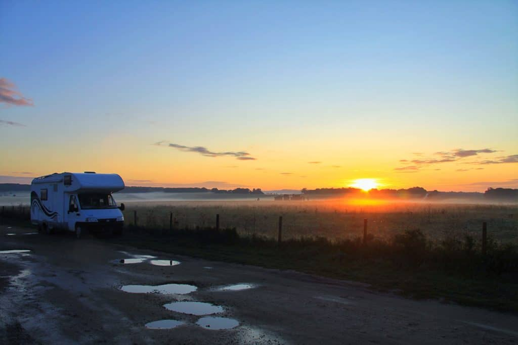 Stonehenge camping at night with a motorhome or campervan- The Drove at night. Stonehenge wild free parking near stone.