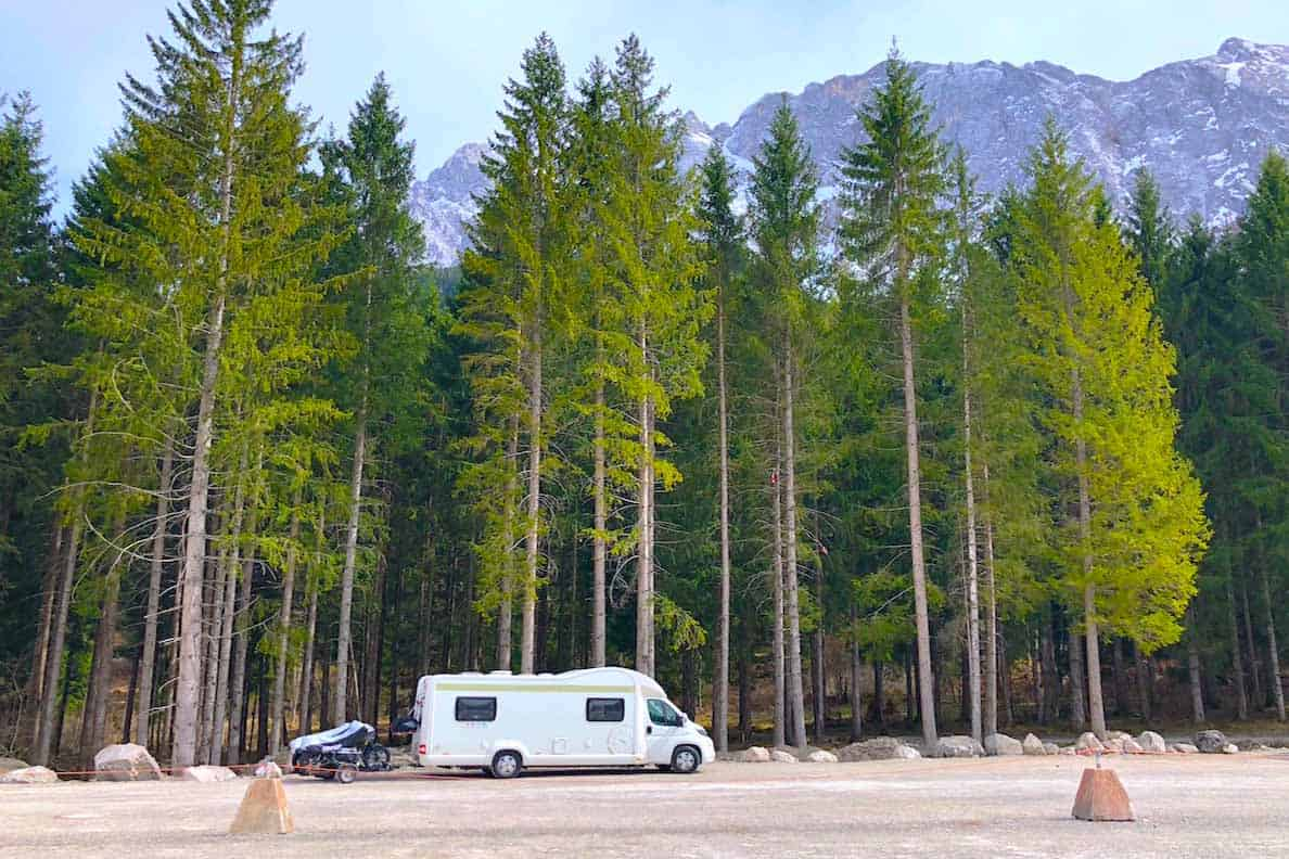 Motorhoming in Germany- motorhome stopover by Zugspitze