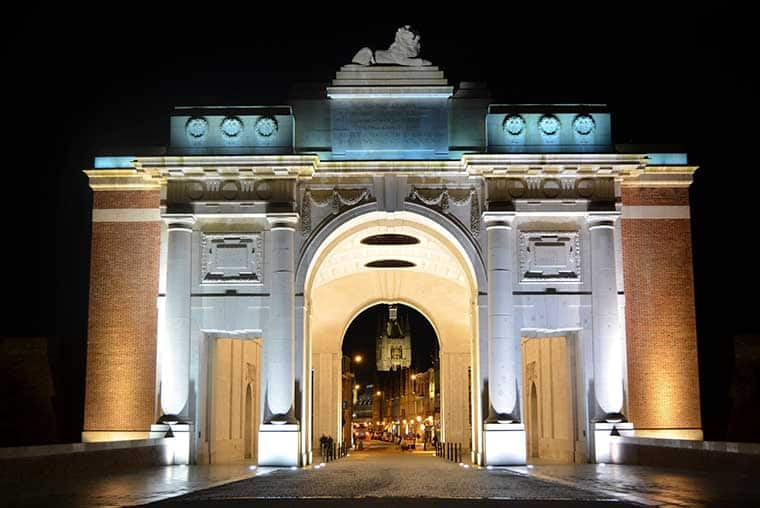 The Menin Gate is beautiful at night. The Menin Gate at midnight- Ypres war memorial