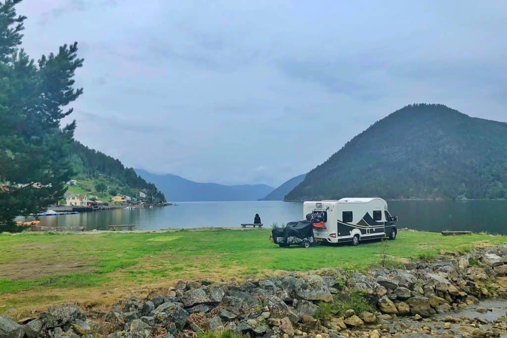 The view from our motorhome at a campsite near a Norwegian fjord.