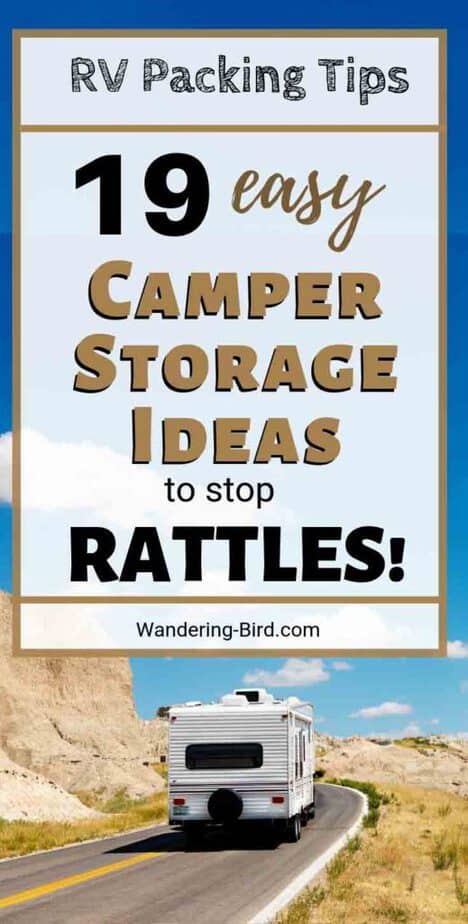Need RV Packing Tips? These fantastic camper storage ideas show you how to pack your RV without all those annoying rattles! These hacks are cheap, easy and quick- stop all the noise in your camper van today! #rvliving #rvtips #rvlife #camper #motorhomeliving