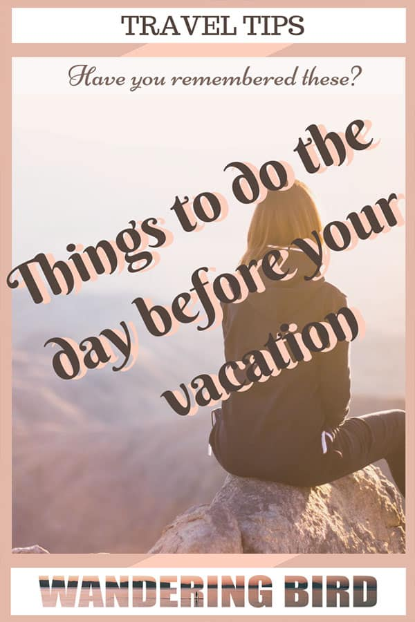 Planning a holiday? Looking for a FREE pdf pre-travel checklist of things to do before holiday? Here are 15 ESSENTIAL things you MUST remember before you leave. Spending 5 minutes making a list of these things will help you keep calm and enjoy the excitement of your upcoming trip! #traveltips #travelchecklist #freechecklist