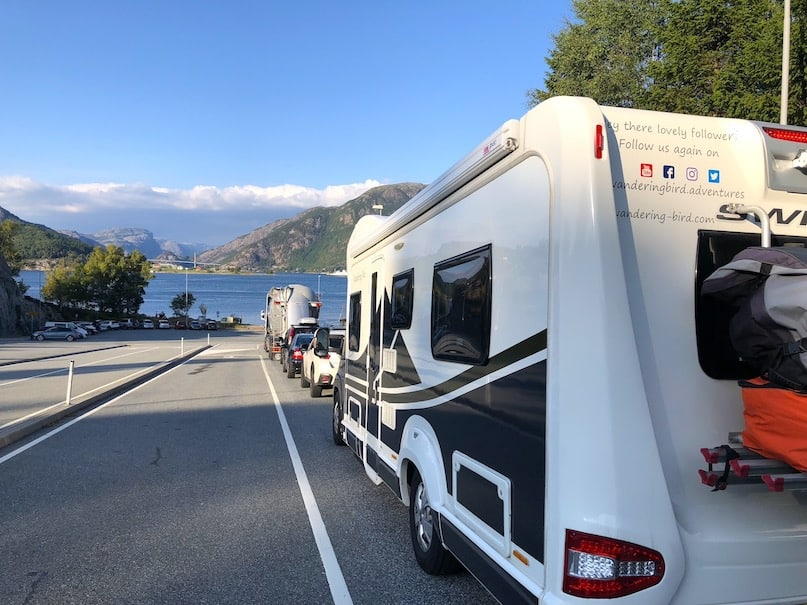 Waiting for the ferry in Norway with our motorhome