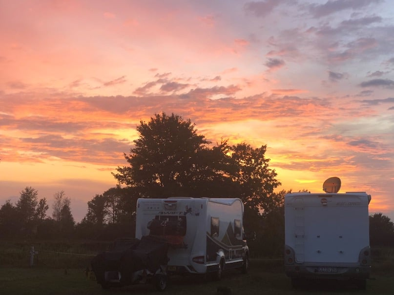 Motorhome touring in Germany- parked up by the Kiel Canal