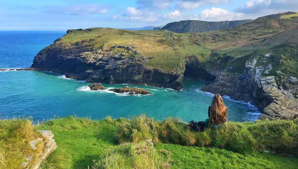 Visit the famous Tintagel Castle- home of King Arthur! We also explored the aswesome Merlin's Cave- definitely a must if you're in Cornwall. #tintagel #castle #uk #cornwall #merlin #cave #camelot #placestovisit #thingstodo #england #visit #traveltips #trave