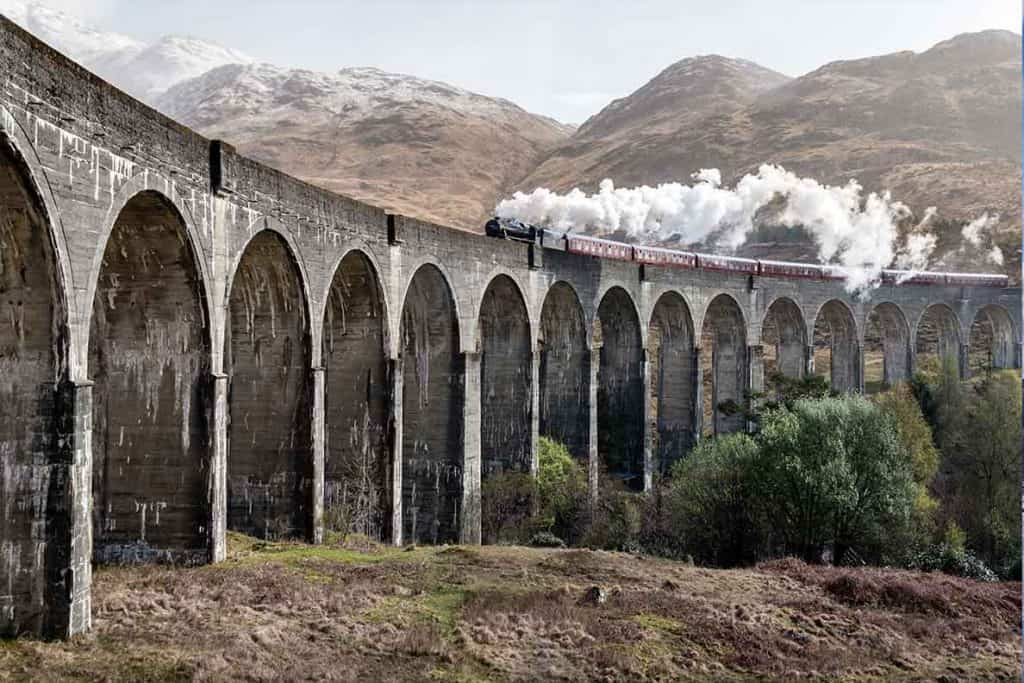 Glenfinnan viaduct in Scotland- part of our driving tour of Scotland