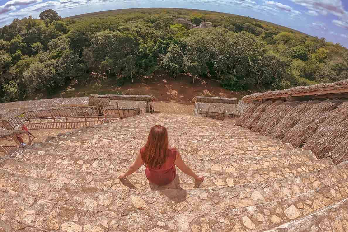 Did you know you can CLIMB on the ruins in Ek' Balam, Mexico?? Yep- the Ek' Balam ruins near Valladolid is one of the last Mayan sites where you are allowed to look inside rooms, climb to the top of the pyramids and imagine life thousands of years ago. This post tells you EXACTLY how to get there, what you need to bring and do when you are visiting Ek' Balam. #ekbalam #mexico #ruins #yucatan #blackjaguar #mayanruins #ek'balam