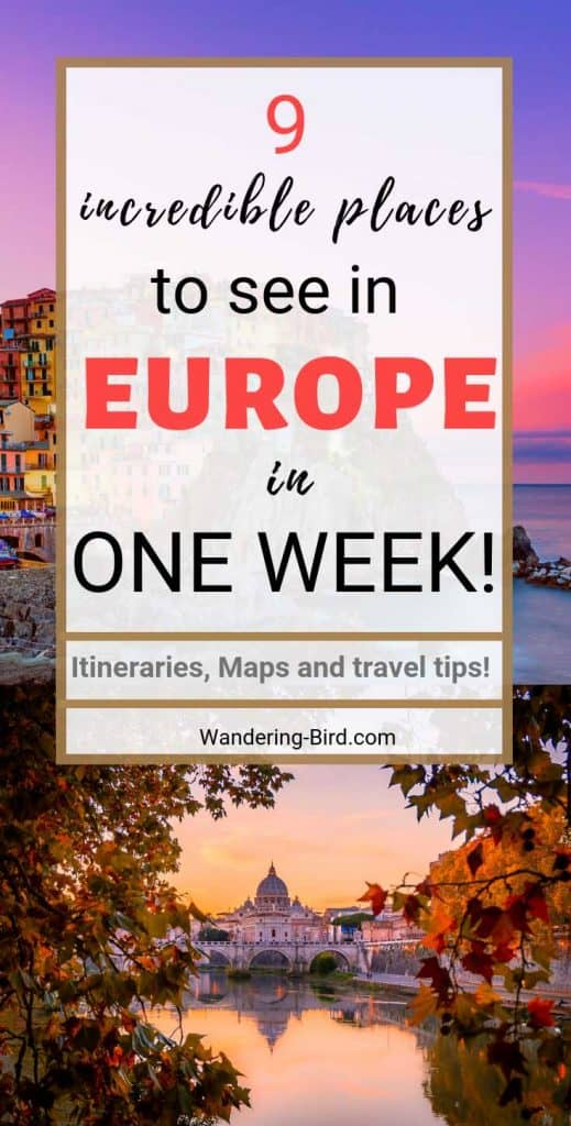 Here are 9 One Week Europe Itinerary ideas full of beautiful places in Europe to explore in just one week. These Europe itineraries are varied, with cities, countries and things to do in Summer and Winter in Central, Eastern, Northern, Southern and Western Europe. These maps and itinerary guides will help you plan your trip to Europe.