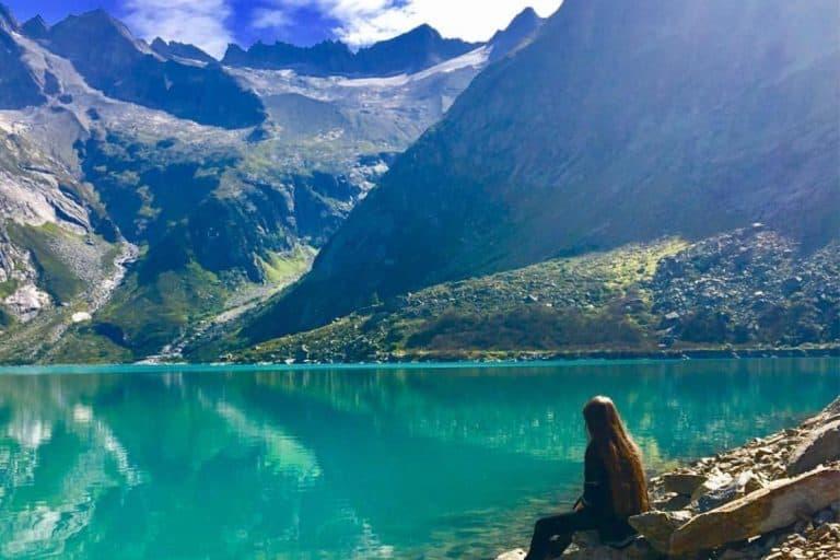 Gelmersee lake in Switzerland
