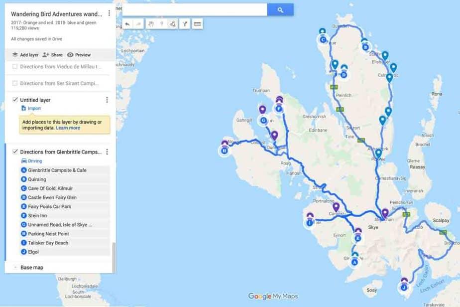 Carte de l'itinéraire de conduite pour l'île de Skye - itinéraire du premier et du deuxième jour