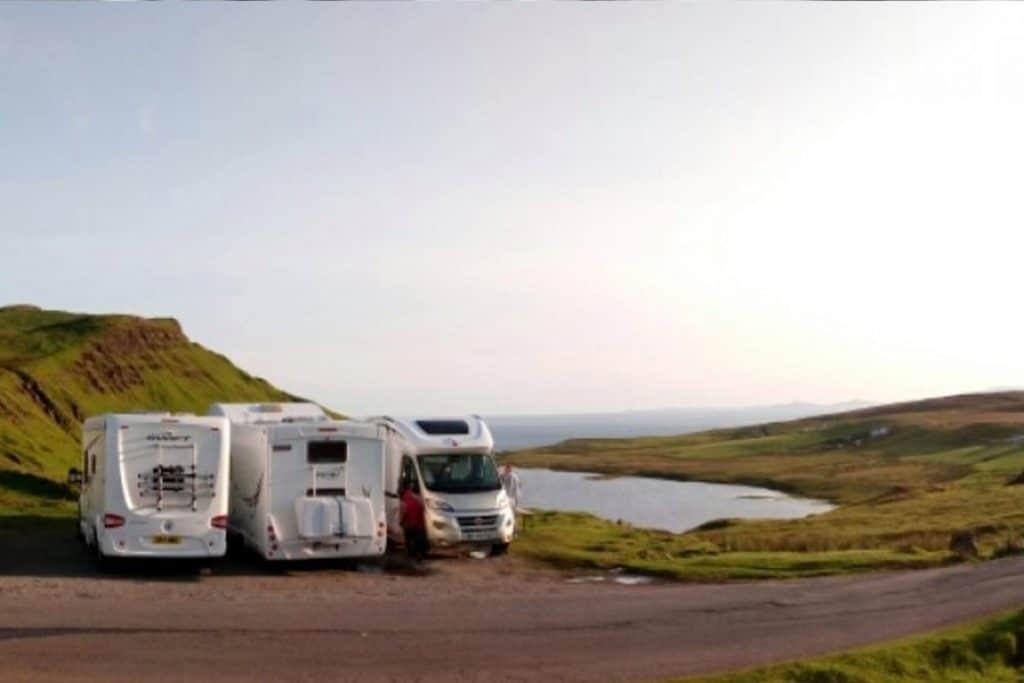 Motorhomes wildcamping on the Isle of Skye