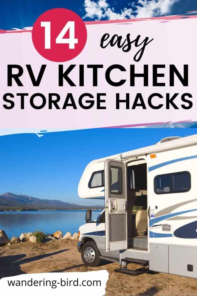 RV campervan kitchen storage hacks for simple vanlife motorhome living