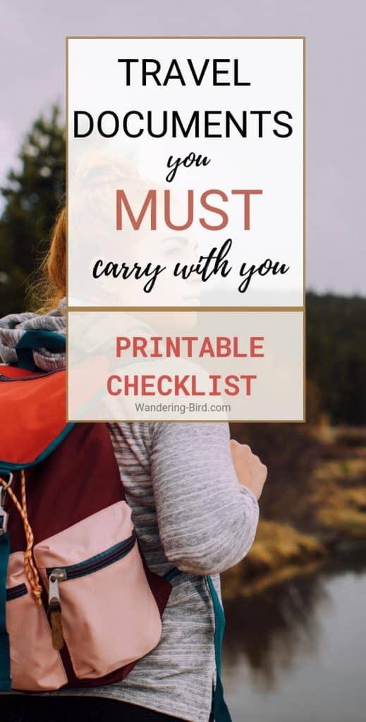 Travel Documents Checklist- with printable checklist
