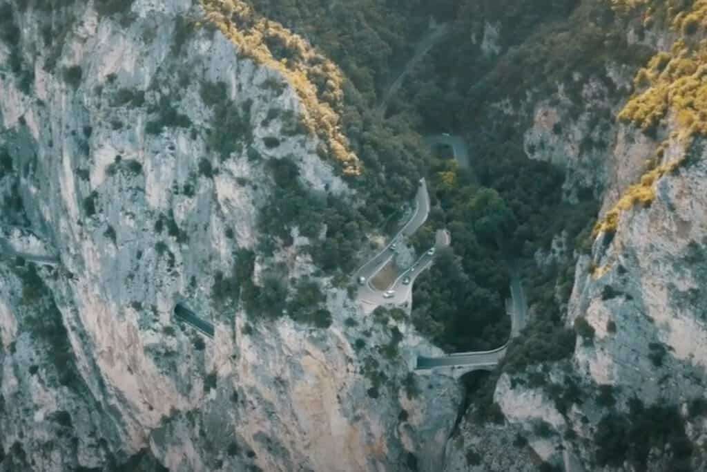 Strada Della Forra- the gorge road carved into the side of a cliff