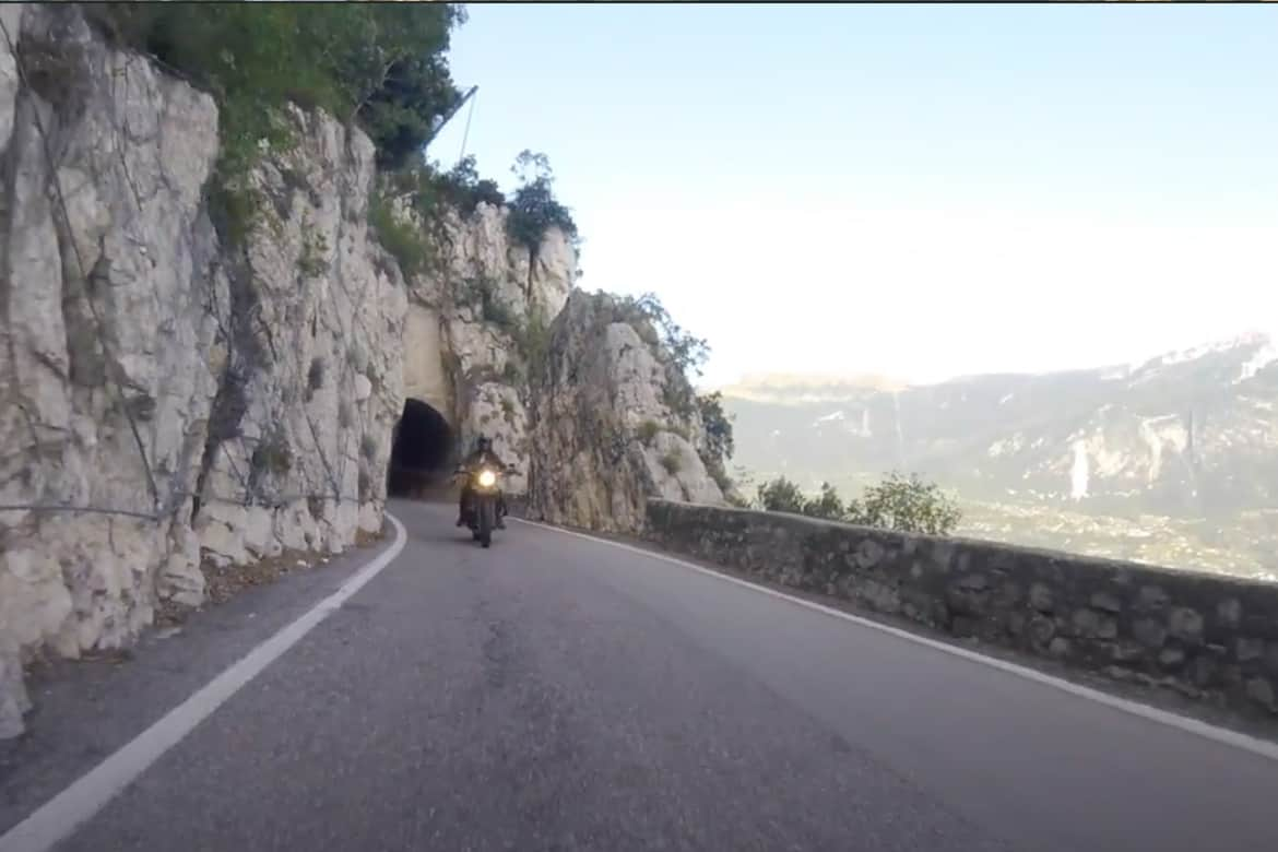 Strada Della Forra- the gorge road with a motorbike