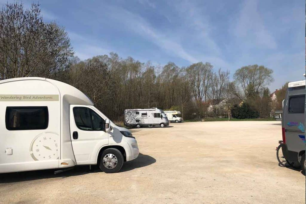French aires can either be big gravel unmarked parking areas, or tightly packed into bays. We prefer aires in France like this- easier to park with our trailer.