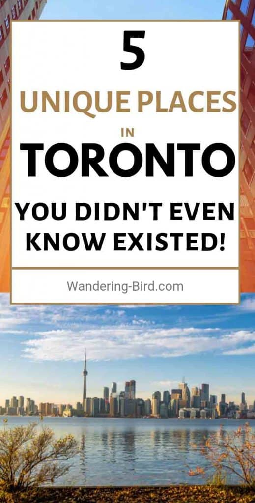 Visiting Toronto? First timer or going back for more? Either way, here are FIVE awesome and unique places in Toronto you didn't even know existed!! These are some of our favourite things to do in Toronto, Canada. Some are perfect if you're travelling with kids and others are fun for a romantic night out as a couple. Some are even FREE!! Try them all during your next trip to Toronto!!