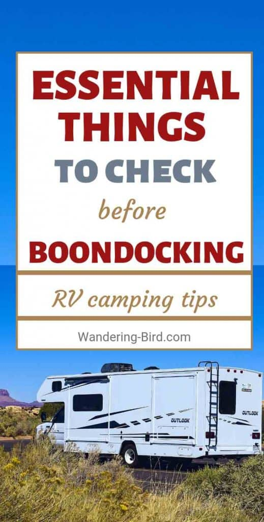 Going Boondocking or wild camping with your RV, motorhome or camper van? Do these essential checks first and make sure your van is prepared for off-grid camping.