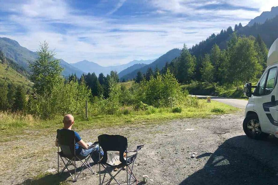 Wild Camping in France for Motorhomes and Campervans- sitting outdoors in the mountains