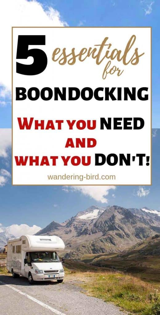 Want to go off-grid with your RV, motorhome or camper? Here are FIVE essential things you NEED- and two you DON'T. Make sure your RV is prepared for boondocking or wild camping with these great tips and ideas. RV life just got a whole lot more fun!!