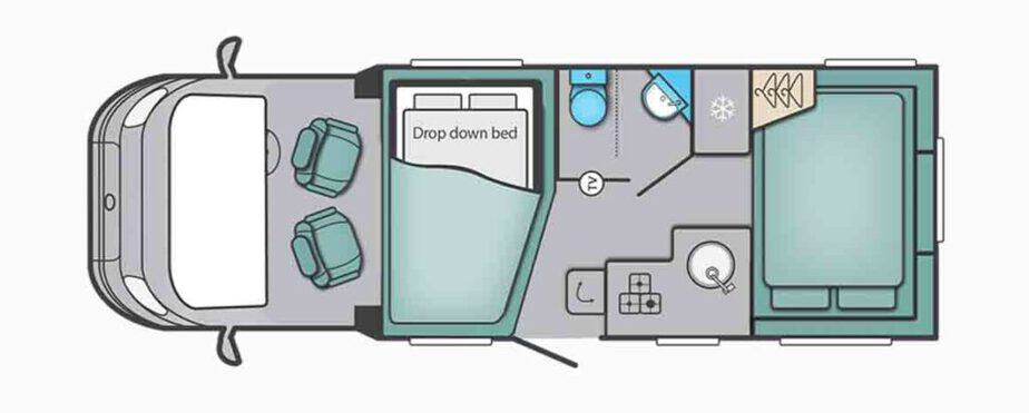 Night layout of Swift Escape 685 Motorhome Review and Tour