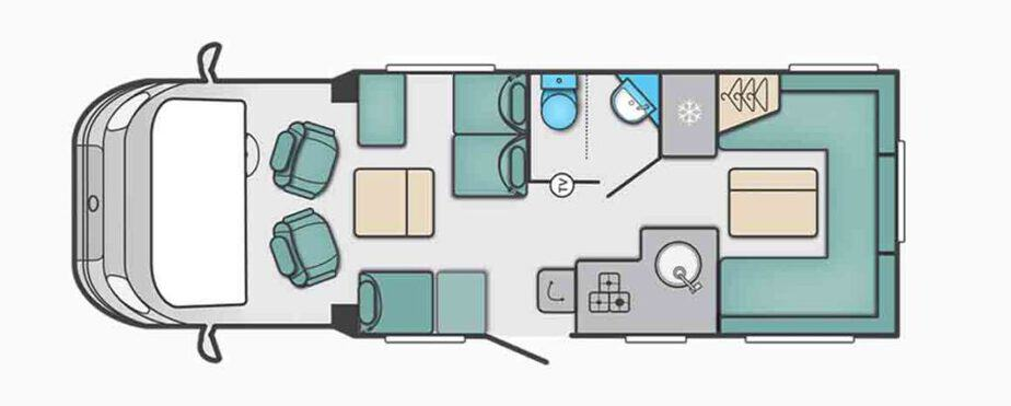Day layout of Swift Escape 685 Motorhome Review and Tour
