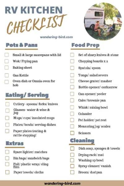 RV Kitchen essentials checklist- Packing a camper lists. 7 essential RV checklists to download and print at home.