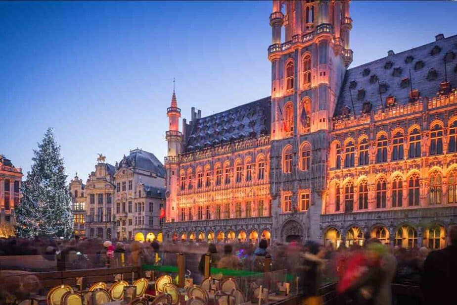 The Winter Wonders Christmas market in Brussels Belgium, one of the biggest Christmas Markets in Europe.