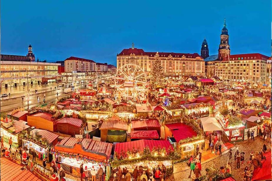 The beautiful stalls of the Dresden Christmas market in Germany.