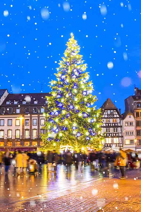 The colorful Christmas tree at the Christmas market in Strasbourg, France.