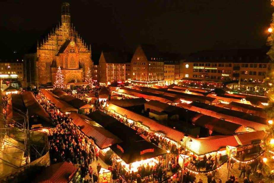 The sprawling Christmas market in Nuremberg, Germany.