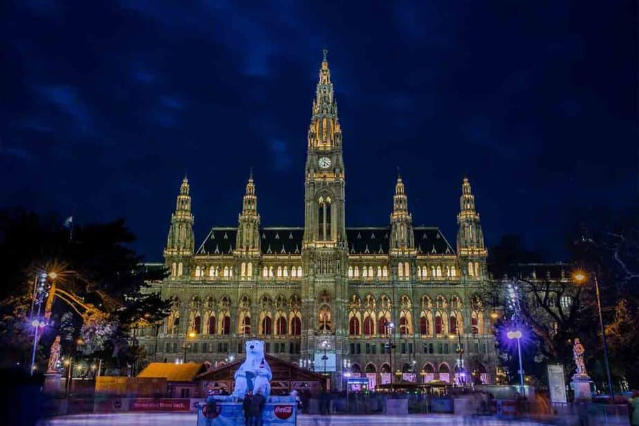 The ice rink at the Christmas market in Vienna, Austria.