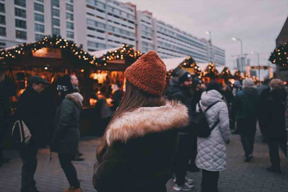 Shoppers at a Christmas market in Europe.