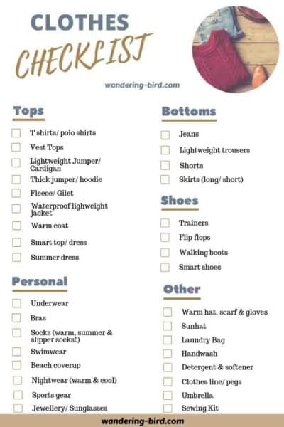 Packing a camper- clothes checklist for motorhomes and RVs. 7 essential checklists for packing an RV