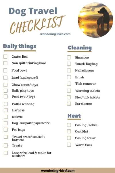 Dog Travel & Road Trip essentials checklist- Packing a camper lists. 7 essential RV checklists to download and print at home.