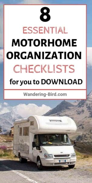 Packing a camper? Looking for RV packing tips? Here are 8 ESSENTIAL motorhome checklists you NEED to help you organize your RV. These checklists give tips, tricks packing hacks to stop forgetting anything before you set off on your road trip- as well as the best advice for RV storage! These RV checklists are downloadable & printable so you can take them in your motorhome with you! #rvlife #rvlife #packingtips #motorhome #checklists #organization