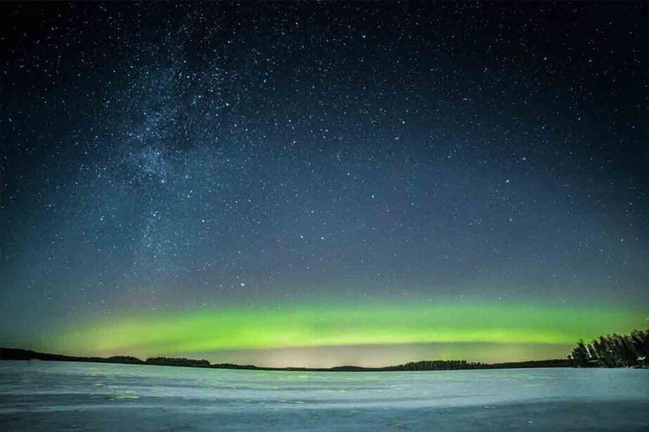 The green Northern Lights in the skies of Northern Finland.