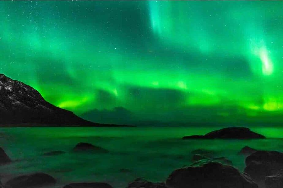 The green hues of the northern lights in Europe.