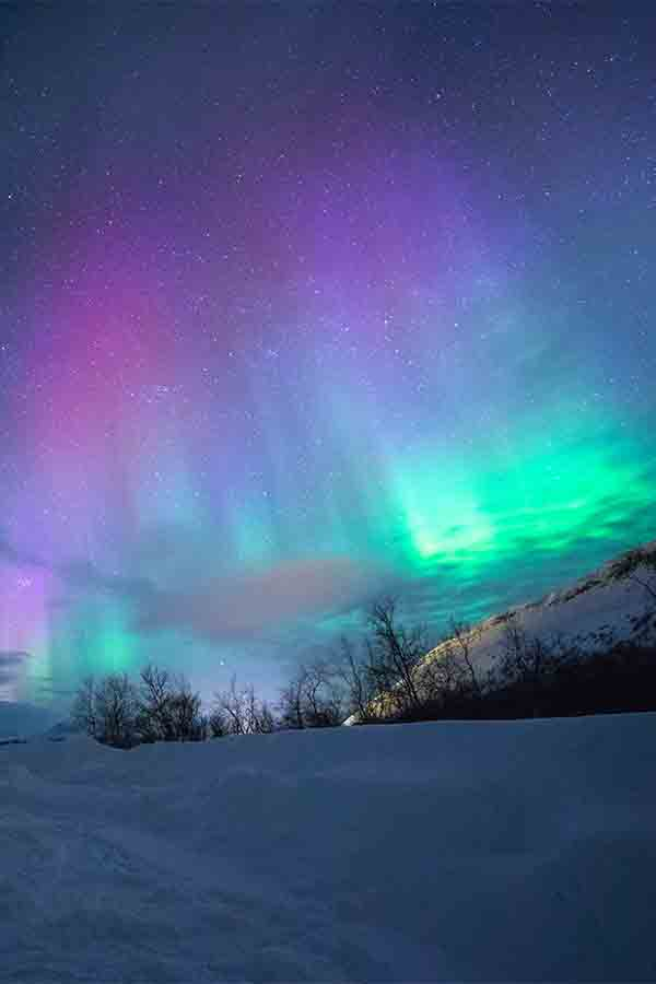 The pink, purple and green Norway Northern Lights over Tromso.