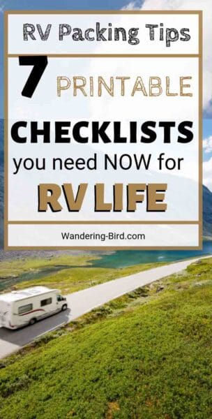 Are you starting RV life? Worried that you'll forget something essential on the road? These 7 printable checklists will help you pack everything you need. They cover clothes for RV living, motorhome organization tips, Tools for your camper van, RV Kitchen tips and storage, RV Groceries and much more! Download and use them all TODAY! #rv #rving #motorhome #camper #checklists #packing #tips