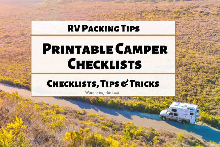 graphic regarding Printable Rv Setup Checklist identified as Necessary Packing a camper lists- 7 printable RV checklists