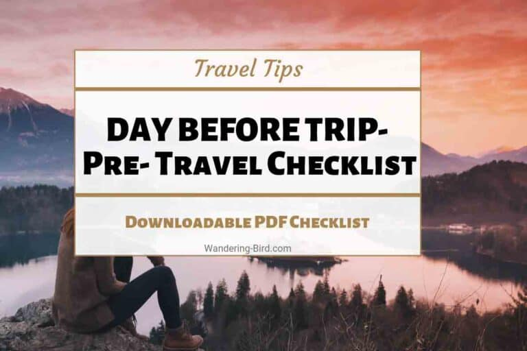 Pre Travel Checklist- things to do day before vacation holiday trip. FREE Checklist downloadable pdf