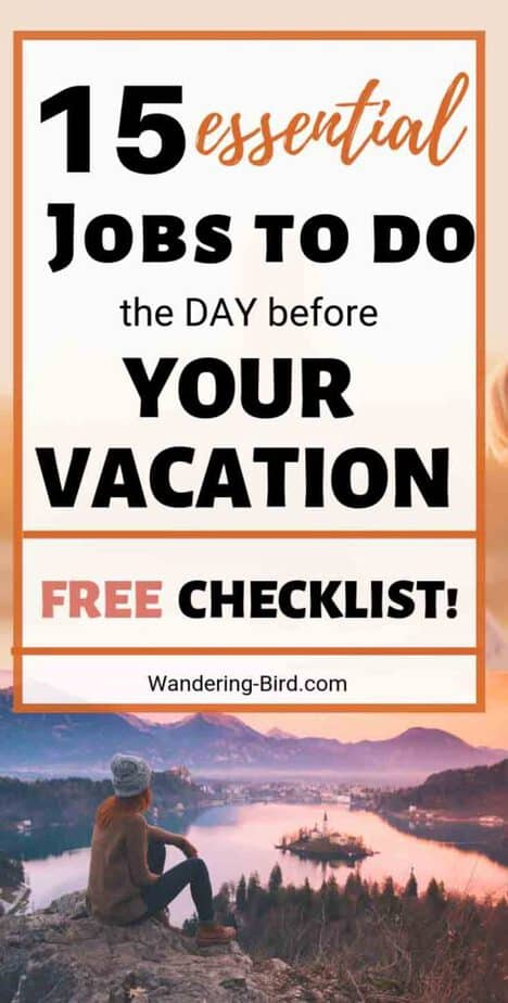 Pre Holiday Checklist- FREE Printable & Packing list - things to do day before vacation holiday trip. FREE Checklist downloadable pdf