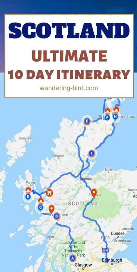 Planning a road trip to Scotland? This awesome 10-day itinerary will take you to all the best places, including the Highlands, Isle of Skye, Orkney, Edinburgh and Glasgow! You'll also visit incredible Castles and find unique things to do along the way. It's your Travel plans done in one easy read. There's a helpful map, distances and options for summer and winter. Plan your Scotland itinerary today! #scotland #itinerary #thingstodo #europe #UK #roadtrip