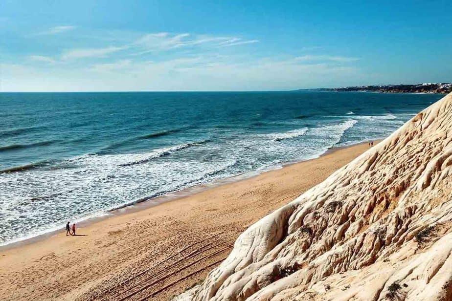 Walking along the beautiful beaches of Albufeira in Portugal - one of the warmest places in Europe in February.