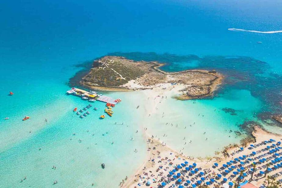 An aerial view of the beautiful beaches of Cyprus.