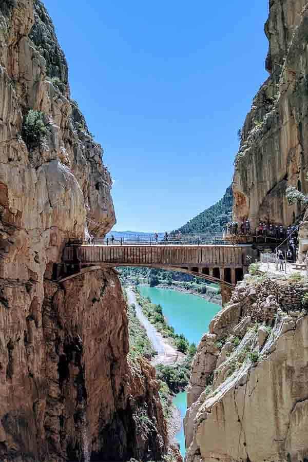 A view of the Caminito del Ray trail and bridge in Malaga.