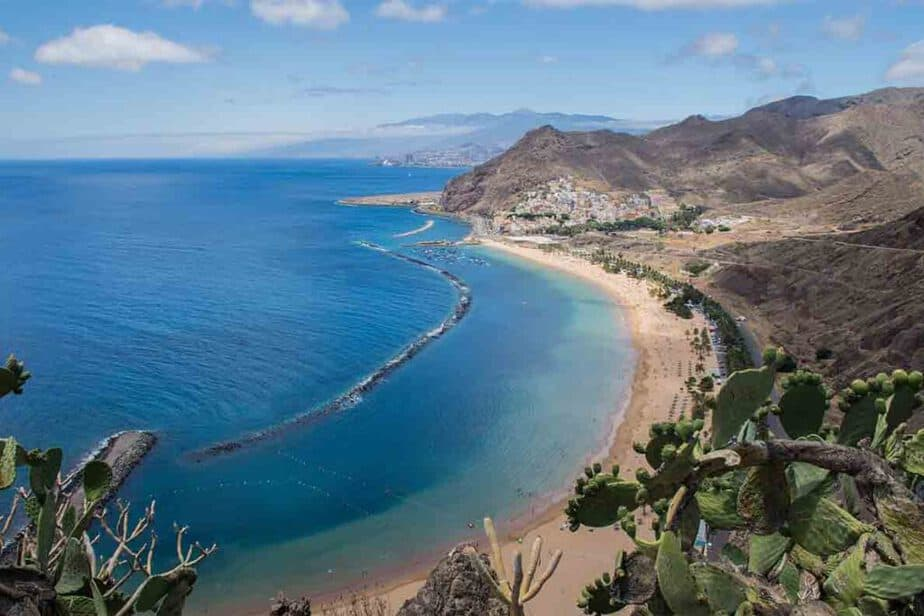 An aerial view of the coast of Tenerife and the beautiful beaches you'll find there.