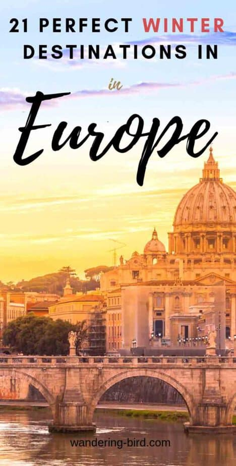 Looking for the BEST European cities to visit in Winter? These Europe travel destinations are PERFECT in Winter- a mix of winter sunshine, snow capped mountains or a chance to see the Northern Lights! All these cities are great on a winter Europe travel itinerary- add them to your European winter bucket list today!