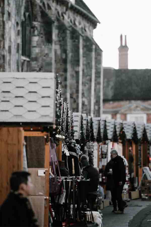 An up close view of the stalls at the Winchester Christmas Market